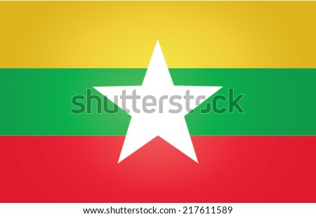 original and simple Union of Myanmar or Burma flag - stock vector