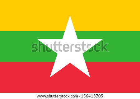 original and simple Union of Myanmar or Burma flag isolated vector in official colors  and Proportion Correctly The Myanmar or Burma is a member of Asean Economic Community (AEC) - stock vector