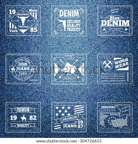 Original authentic denim jeans labels. Cloth design retro, quality wear, emblem material, vector illustration - stock vector