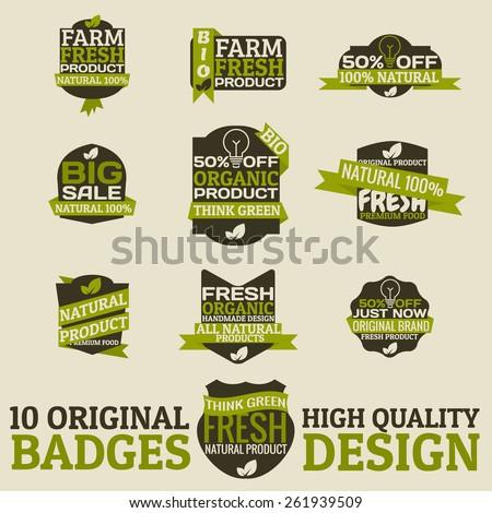 Original bio badges. Hq elements - stock vector