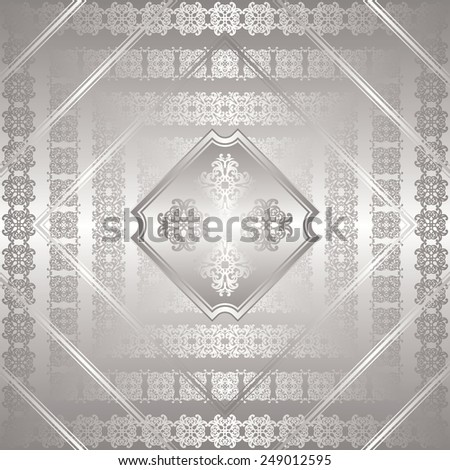 Original card with decorative borders. Retro design. Silver frames   - stock vector