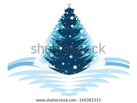 Original Christmas tree decorated with snow,balls and stars isolated on a white background.