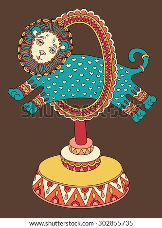 original colored line art drawing of circus theme - a lion jumps through a ring, vector illustration - stock vector