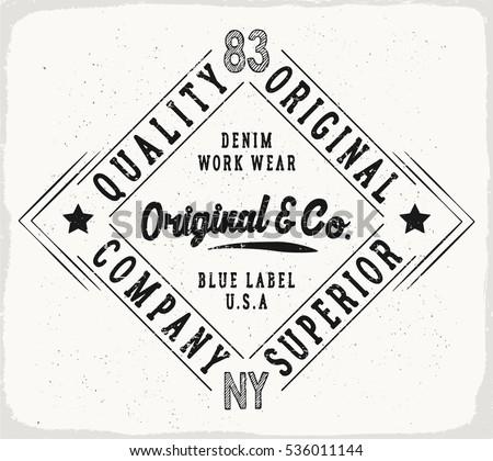 Original denim print for t shirt or apparel retro artwork in black and white