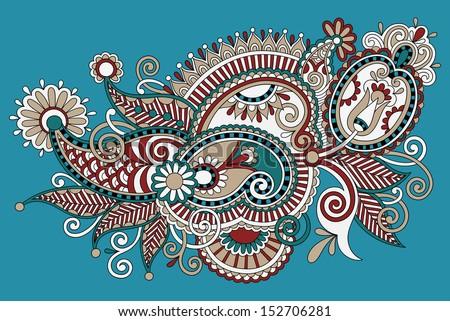 Traditional Flower Line Drawing : Original digital draw line art ornate stock vector 152706281
