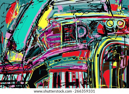 original digital painting of abstraction composition, you can use this artwork print in interior, fabric design, page decoration, packing, art book and other, vector illustration - stock vector