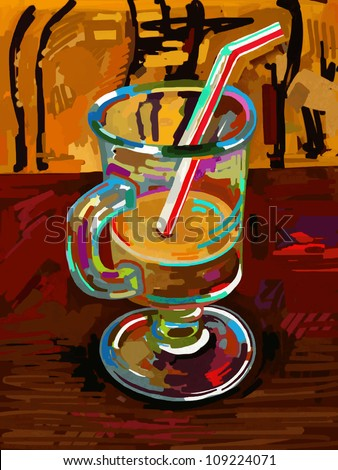 original digital painting of glass of coffee, - stock vector
