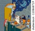 original doodle artistic halloween card - stock vector