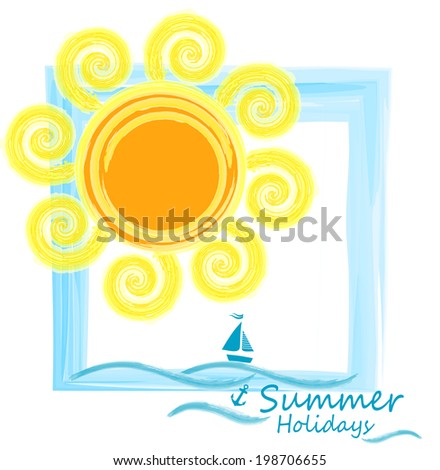 Original drawing,sea and sun.Summer background. - stock vector