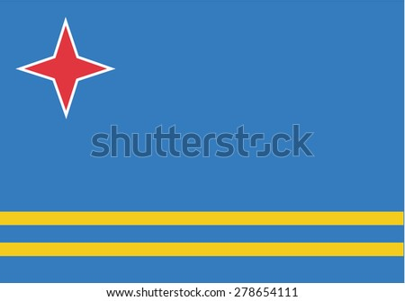 original Flag of Aruba flag isolated vector in official colors and Proportion Correctly - stock vector