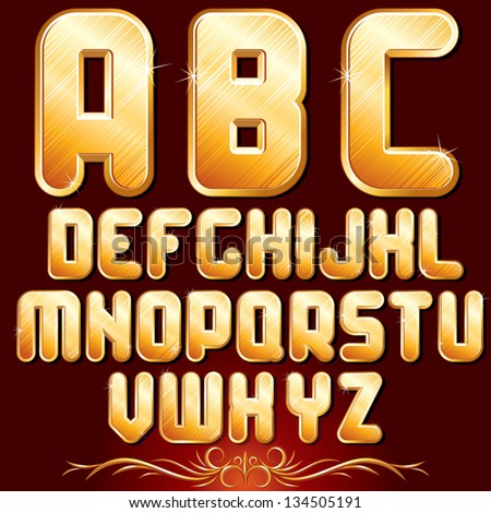 Original Golden Alphabet. Set of Luxury Metallic Letters for Your Text Designs or Logos. Vector Font - stock vector
