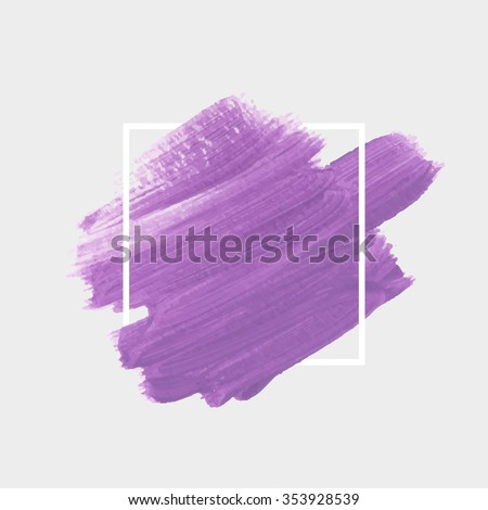 Original grunge brush paint texture design acrylic stroke poster over square frame vector. Original rough paper hand crafted vector. Perfect design for headline, logo and banner.  - stock vector