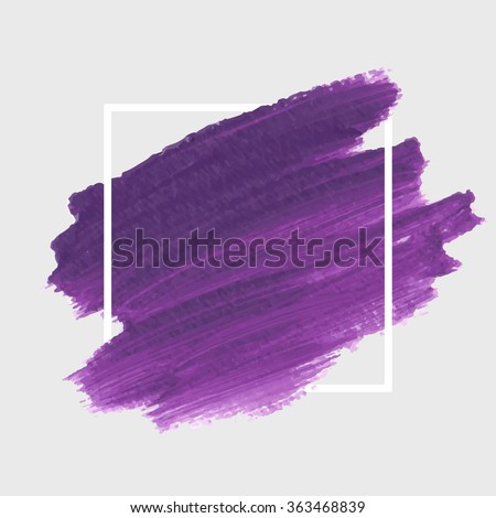 Original grunge brush paint texture design acrylic stroke poster over square frame vector. Original rough paper hand painted vector. Perfect design for headline, logo and banner.  - stock vector
