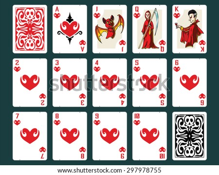 Original Halloween Playing Cards - Hearts Set. Contain all numbers from 2 to 10 plus Ace, Jack (bat), Queen (death), King (vampire) and Back Design. - stock vector