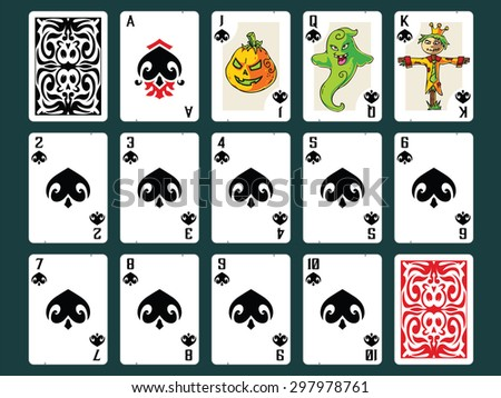 Original Halloween Playing Cards - Spades Set. Contain all numbers from 2 to 10 plus Ace, Jack (pumpkin), Queen (ghost), King (scarecrow) and Back Design. - stock vector
