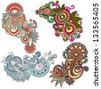 original hand draw line art ornate flower design. Ukrainian traditional style. Vector set - stock vector
