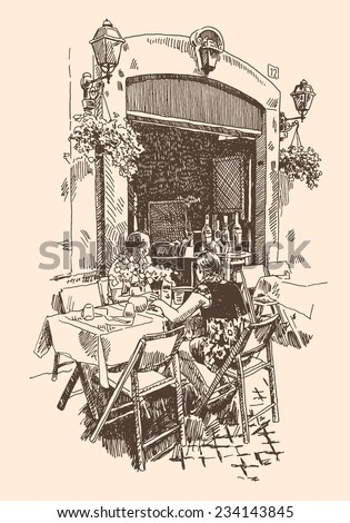 original hand drawing of european street outdoor cafe in Rome, Italy, romantic vector illustration - stock vector