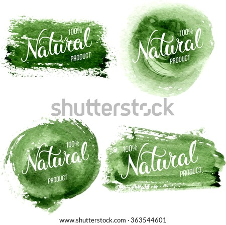Original hand lettering Natural and watercolor design elements. Organic, bio, natural design template. Patterns for advertising.  Can be use for logo, poster, icon, print and web projects.