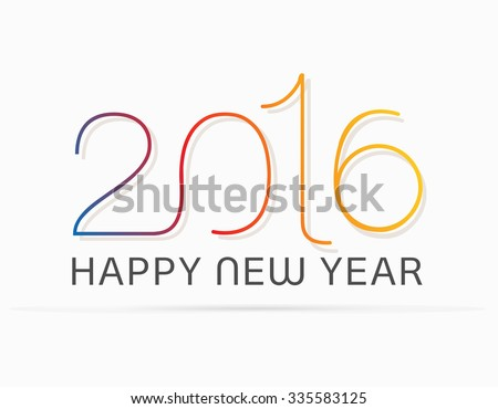 Original Happy New Year 2016 celebration greeting card. Vector illustration. eps10 - stock vector