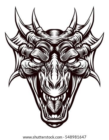 original illustration monster dragon head vintage stock vector