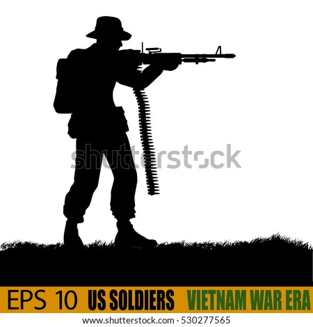 Original illustration of American soldier in the Vietnam War of the 1960s