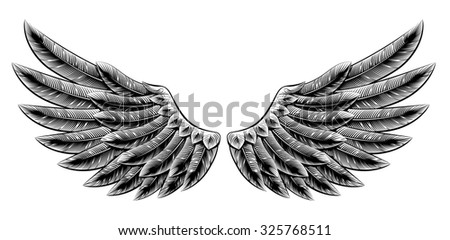Original illustration of vintage woodcut style eagle bird or angel wings  - stock vector