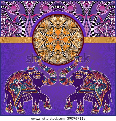 original indian pattern with two elephants for invitation, cover design, fabric pattern or page decoration, ethnic border on vintage flower background, vector illustration - stock vector