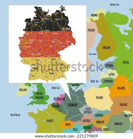 Original map of Europe and Germany. - stock vector