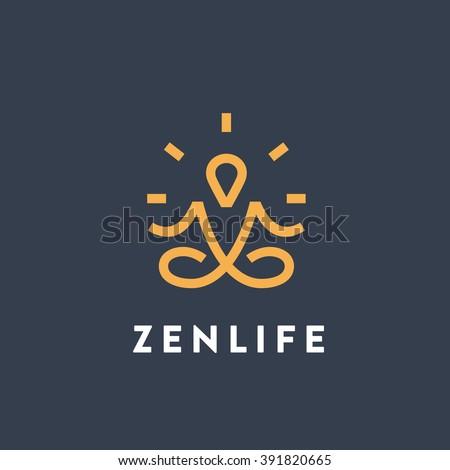 Original Meditation Yoga Minimal Symbol. Memorable Visual Metaphor. Simple, Solid & Bold Mark. Represents the Concept of Enlightenment, Zen, Relax, Insight, Healthy Lifestyle, Harmony, Reflection etc - stock vector