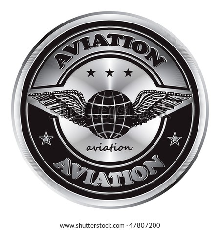 Original metal medal  inscription aviation. - stock vector