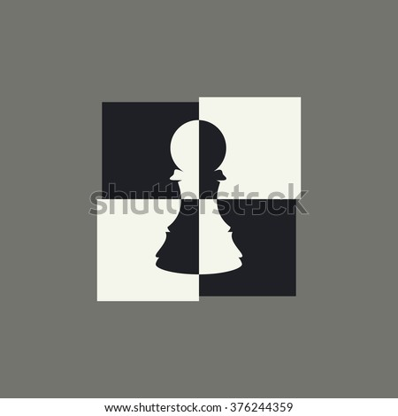 Original modern chess pawn logo, symbol with bow tie. Black and white simple icon isolated on gray background.  Vector illustration, eps 8. - stock vector