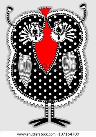 original modern cute ornate doodle fantasy monster personage. Karakoko style - stock vector