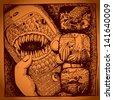 original modern cute ornate doodle fantasy monster personage, phone cover design - stock vector