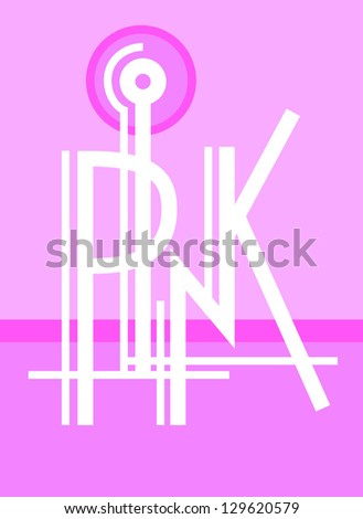original modern hand lettering composition PINK - stock vector