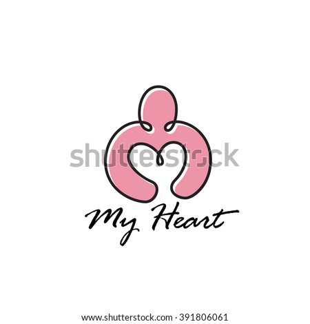 Original Monoline Simple Symbol. Person holding Heart. Memorable Visual Metaphor. Represents the Concept of Charity Mercy Kindness Love Donation, Heart Health, Care Dating Philanthropy Voluntary etc. - stock vector