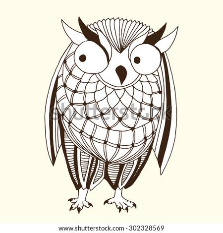 Original owl illustration - Good for T-shirt, bag or whatever print. Vector illustration - stock vector