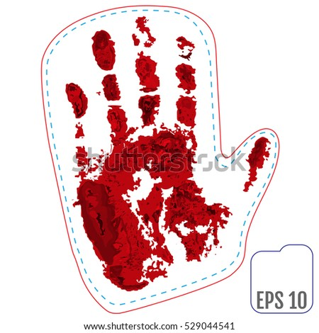 Original patch, badge with blood winter mitten of Santa. Vector illustration.