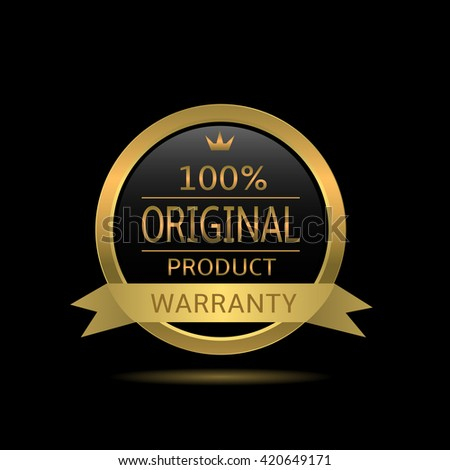 Original product label. Golden warranty badge with ribbon - stock vector