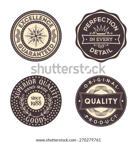 Original Quality Vintage Circular Labels Collection - stock vector