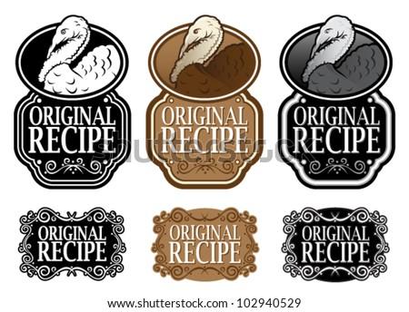 Original Recipe Turkey version vertical seal - stock vector