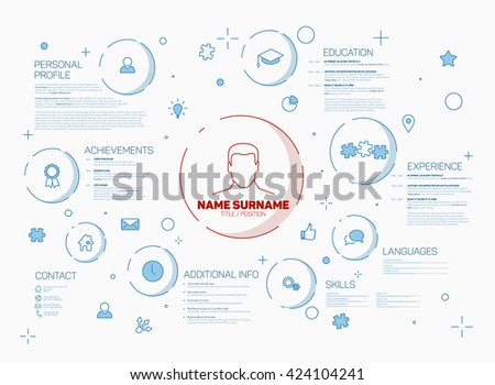 original resume template with minimalist illustrations made by thin blue line.  - stock vector