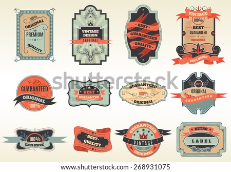 Original retro best choice offer old fashioned traditional emblems labels pictograms collection abstract flat vector isolated illustration - stock vector