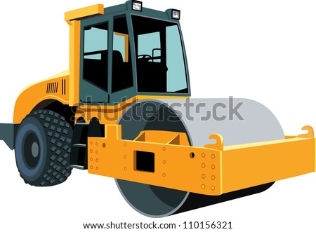 Original road roller isolated on white background - stock vector