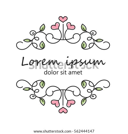 Original Romantic Card Design Ornamental Logo With Hearts Fine Flourished Elements Sign
