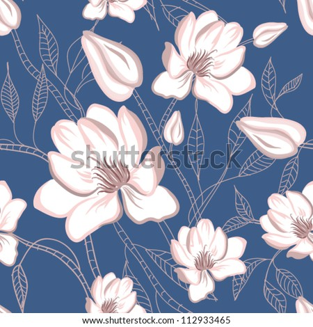 Original seamless floral pattern with magnolia flowers - stock vector