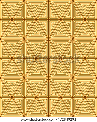 Original seamless pattern of triangles. The texture of wood. Curved lines.