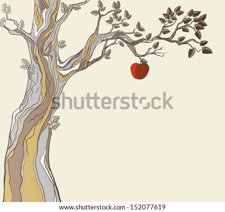 Original sin. Tree with apple. - stock vector