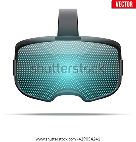 Original stereoscopic 3d vr headset with visualization on surface. Front view. Vector illustration Isolated on white background.