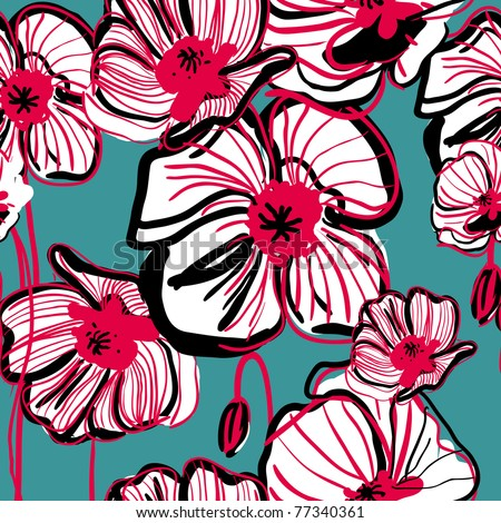Original vector drawing seamless texture with poppy - stock vector
