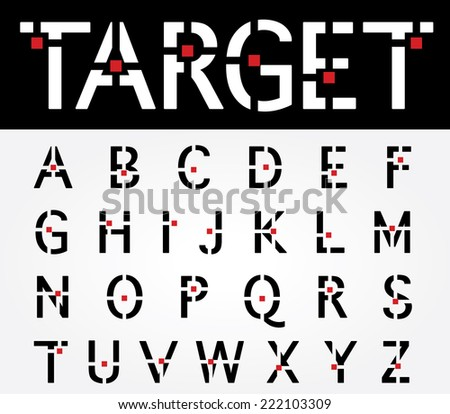original vector font with target and red square - stock vector